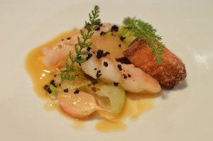Confit King Prawn w charred baby cos, smoked pork belly, dashi radish, black olive & yarrow leaf - Copy