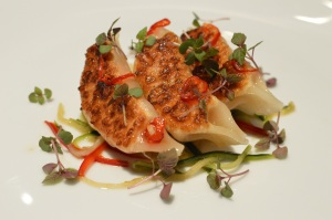 Mulloway & Salmon pan-fried dumplings w shredded cabbage