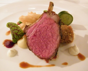 Rack of Junee lamb, braised lamb shoulder scnitzel, onion rings, cucumber & yoghurt