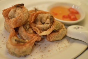 Crispy prawn wontons w sweet chilli sauce & crickets