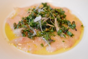 Kingfish carpaccio w parsley & olive salad