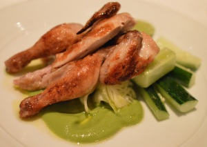 Roasted Thirlmere spatchcock w cucumber, iceberg, avocado & coriander puree