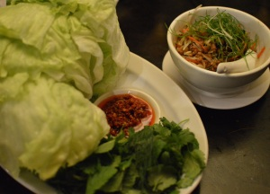 Sung choi bao of certified-free range pork w ginger & mushrooms