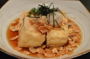 Agedashi tofu w almond flake
