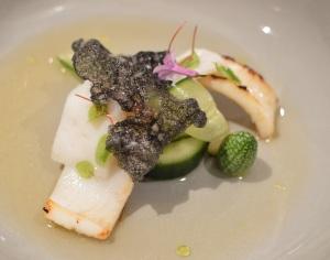Tas Ike Jime squid w pickled & fesh cucumber, macadamia, ink & herbs of the sea