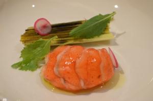 W.A marron w fermented & charred leek w turnip