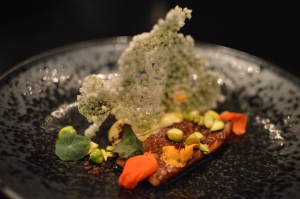 Charcoal smoked freshwater eel, yuzu curd, fresh pistachio, tapioca, licorice & nasturtium flowers & leaves