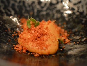 NZ scampi cooked over Japanese charcoal w sudachi lime, pumkin, shellfish mousse & shiso