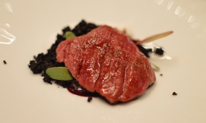 Seared Mandagery Creek venison w chocolate boudin noir, shichimi pepper, pickled cherry puree & coconut yoghurt