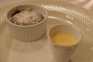 Dark chocolate clafoutis w rhubarb compote & vanilla anglaise
