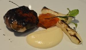 Pork cheek, celeriac, persimmon, chestnuts & autumn ashes
