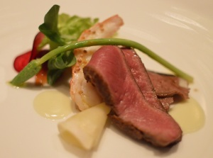 Salad of Flinders Island lamb, smoked eucalyptus scallop & scampi masterstock jelly
