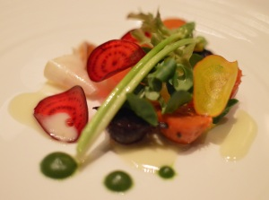 Salad of root vegetables, smoked eucalyptus potato, stinging nettle & lemongrass jelly