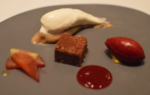 Spiced plums, chocolate & chestnut mont blanc, bay leaf & cassis