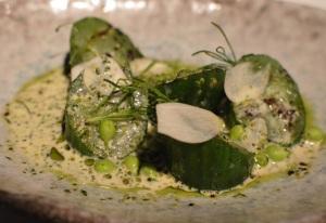 Cucumbers w holy flax & sauce of burnet