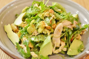 Chicken salad w spice roasted carrots, avocado, cashew & citrus dressing
