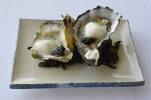 "Ewan McAsh's ""Sirens"" Sydney Rock & Greenwell Point Pacific Oysters shucked to order w Champagne foam, chives & caviar"