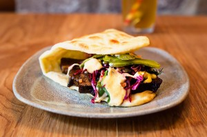 Glazed beef brisket narnie w slaw, gherkins & chipotle mayo