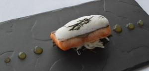 Hot smoked fillet of Salmon w sorrel, horseradish, daikon & dashi