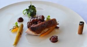 Roast duck breast w heirloom carrots, sour cherry sauce & cinnamon