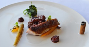 Roast duck breast w heirloom carrots, sour cherry sauce & cinnamon