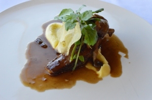 Slow cooked Wagyu brisket w parsnip puree, Forest mushrooms, watercress & Bordelaise sauce
