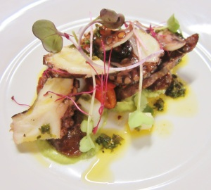 Chargrilled octopus w Bellingen chorizo, dutch cream potatoes, roasted capsicum w lemon balm sauce