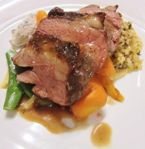 Milly Hill lamb rump w onion chickpea puree, mixed grain salad, orange cumin roasted carrots, port thyme jus w yoghurt & mint