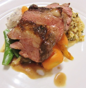 Milly Hill lamb rump w onion chickpea puree, mixed grain salad, orange cumin roasted carrots, port thyme jus w yoghurt & mint