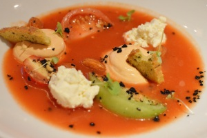 Red pepper and heirloom tomato gazpacho w Yarra Valley persian fetta, dried olives, almond & basil