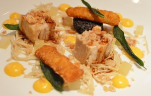 Roast pork belly w black pudding & pig's tail, poached enoki mushrooms, butternut, sage & crackle.