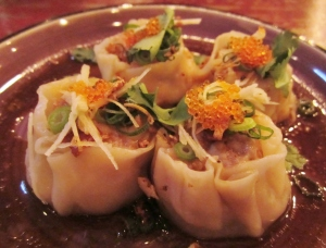 Pork & prawn dumplings w soy, coriander & ginger dressing