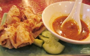 Roti w Malaysian curry sauce, cucumber & chilli