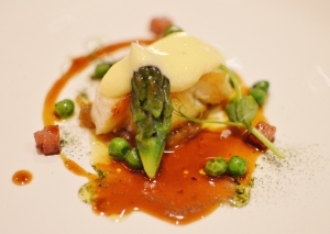 Glacier 51 Patagonian Toothfish w peas, confit onion, speck, chicken jus & béarnaise