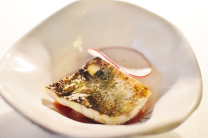Coorong yellow eye mullet w apple, radish & red date infusion