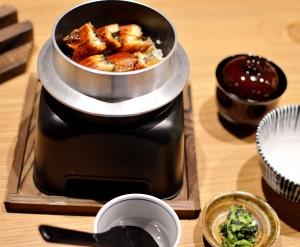 Unagi Gohan (unagi eel, Kinme rice, julienned omelette, chawanmushi & miso soup