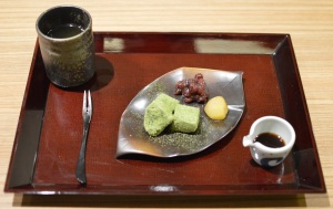 Warabi mochi (wasabi jelly, Uji matcha from Kyoto, red bean & chestnut)