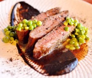48 hour BBQ flank w caramelised nori, mushroom preserve & sauce bordelaise