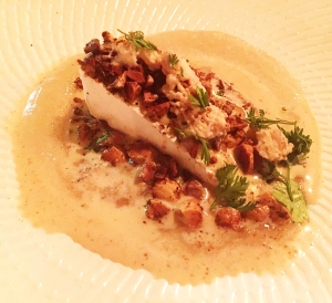 Le Dauphin brie w salted almonds, almond granite & bottlebrush syrup
