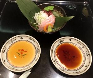 Emperador Sashimi w Soy Sauce & Tomato Soy Sauce