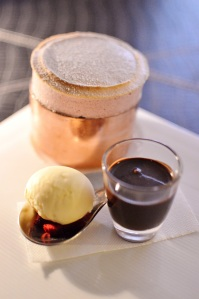 Hot plum soufflé w crème fraiche ice cream & rich zokoko chocolate