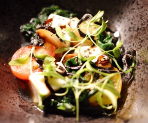Housemade soy tofu w marinated spinach, toasted seeds, dashi & fragrant basil