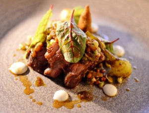 Milly Hill lamb rump w sheeps yoghurt, cumin, okra & sprouted lentils