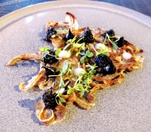 'Ode to Whitmarsh' Crispy pigs ear, black garlic, wasabi, Siam basil & Da Vinci caviar - Copy