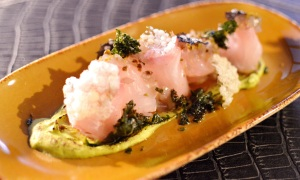 sashimi of pink snapper w scorched avocado, finger limes & crip tapioca