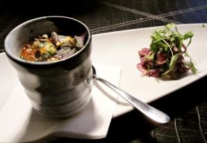 Steamed chawanmushi w white miso beef salad, sea urchin & lotus root