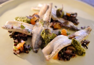 Steamed fillets of garfish w wild rice, golden sultanas & chimichurri