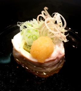 Steamed Snapper w Green Tea Soba Noodles, Japanese Ginger, Grated Japanese White Radish & Chilli