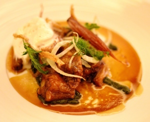 Braised pork jowl w caramelised white carrot & lemon balm