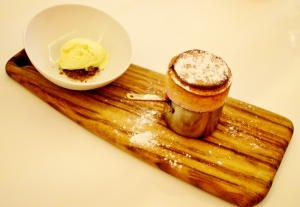 Rhubarb & strawberry soufflé w white chocolate ice cream